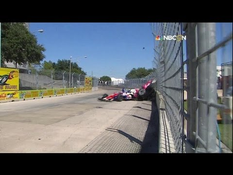 Dario Franchitti Horror Crash @ 2013 Indy Car Houston Race 2