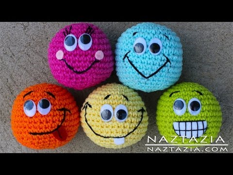 Learn How to Crochet - Basic Beginner Amigurumi Smiley Face Hacky Sack Ball Toy SC2TOG INVDEC Emoji