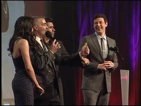 Watch Naya Rivera, Cory Monteith  and John Stamos of Glee Get Kissed on Stage at  GLAAD Awards