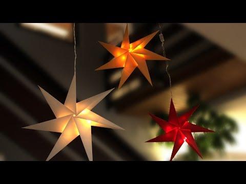 Beleuchteter 3D Stern aus Bascetta-Stern Faltpapier