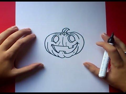 Como dibujar una calabaza paso a paso 4 - Como vaciar una calabaza ...
