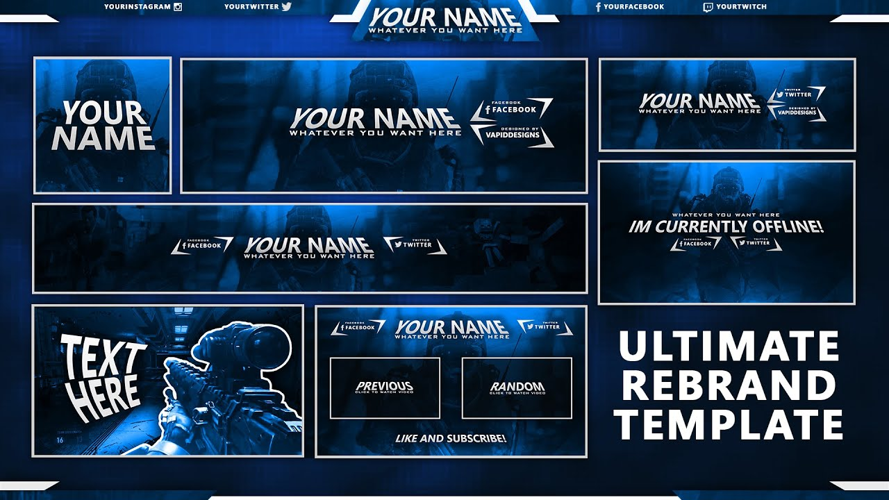 Free Gfx Free Social Media Pack Twitch Youtube Twitter Templates