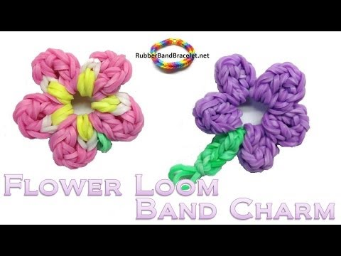 flower 5 petals loom band charm without rainbow