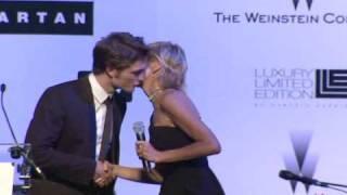 Sharon Stone Kisses Robert Pattinson At The Amfar Gala