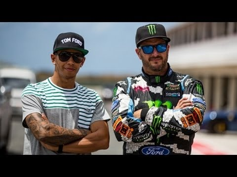 Ken Block vs Lewis Hamilton - Formula 1 Vs Rallycross - Top Gear Live Barbados
