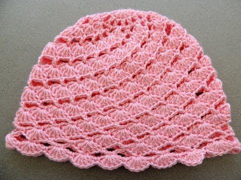 Crochet : Gorro en Conchitas Diagonales. Parte 2 de 2