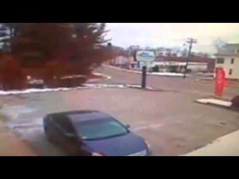 Raw: Car Strikes Ambulance in Mass.