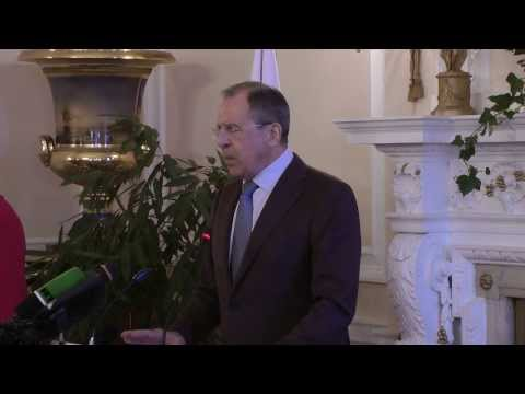 FM Sergey Lavrov 's press conference after meeting with US Secretary of State John Kerry.