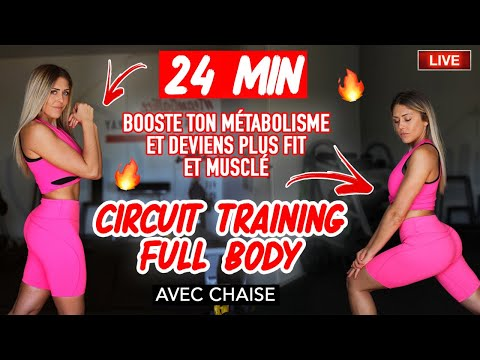 LIVE : Circuit training Full body intensif sans impact / avec chaise 🔥