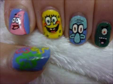 Губка боб ногти