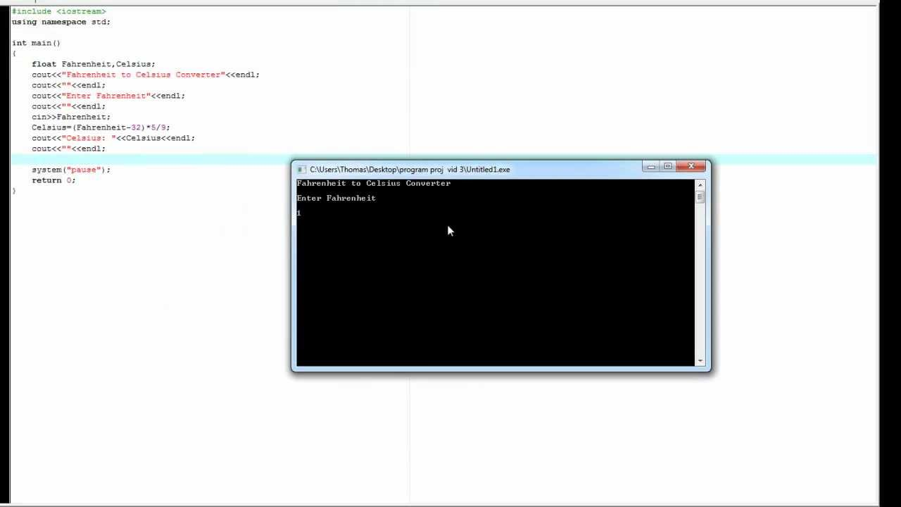 C++ code to convert fahrenheit to celsius