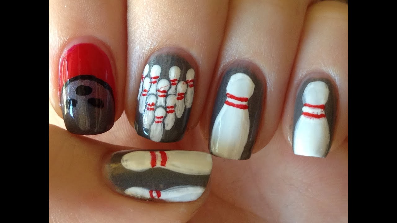 Bowling Nail Art Tutorial - YouTube