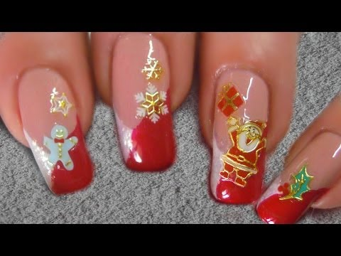 Easy Christmas nailart with stickers