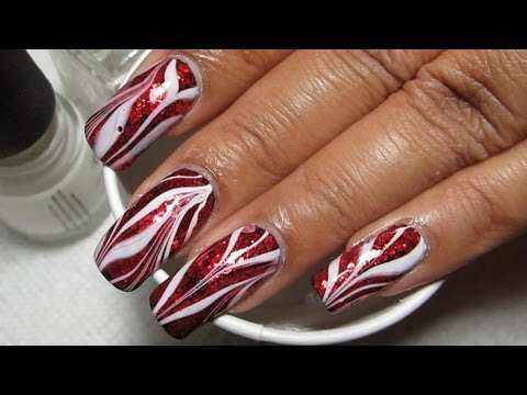 Red Glitter White Water Marble Nail Art Tutorial Nail Designs Video