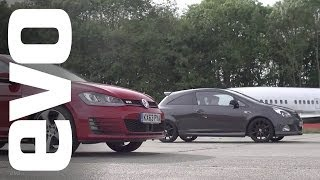 Vauxhall Corsa VXR Clubsport v VW Golf GTi Performance Pack | evo DRAG BATTLES