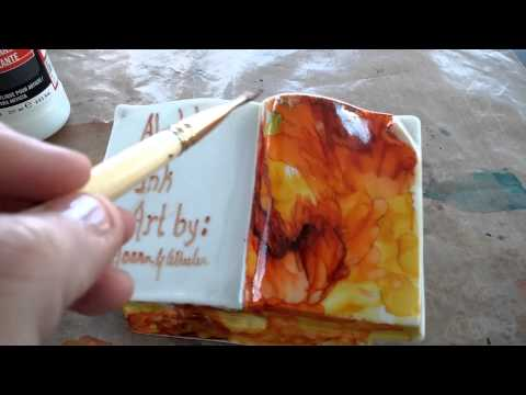 Sealing alcohol ink with Liquitex UV protecting vv