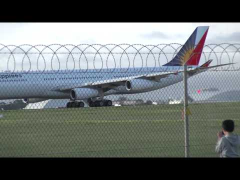 Philippine Airlines Airbus A340-300 taking off Melbourne Airport