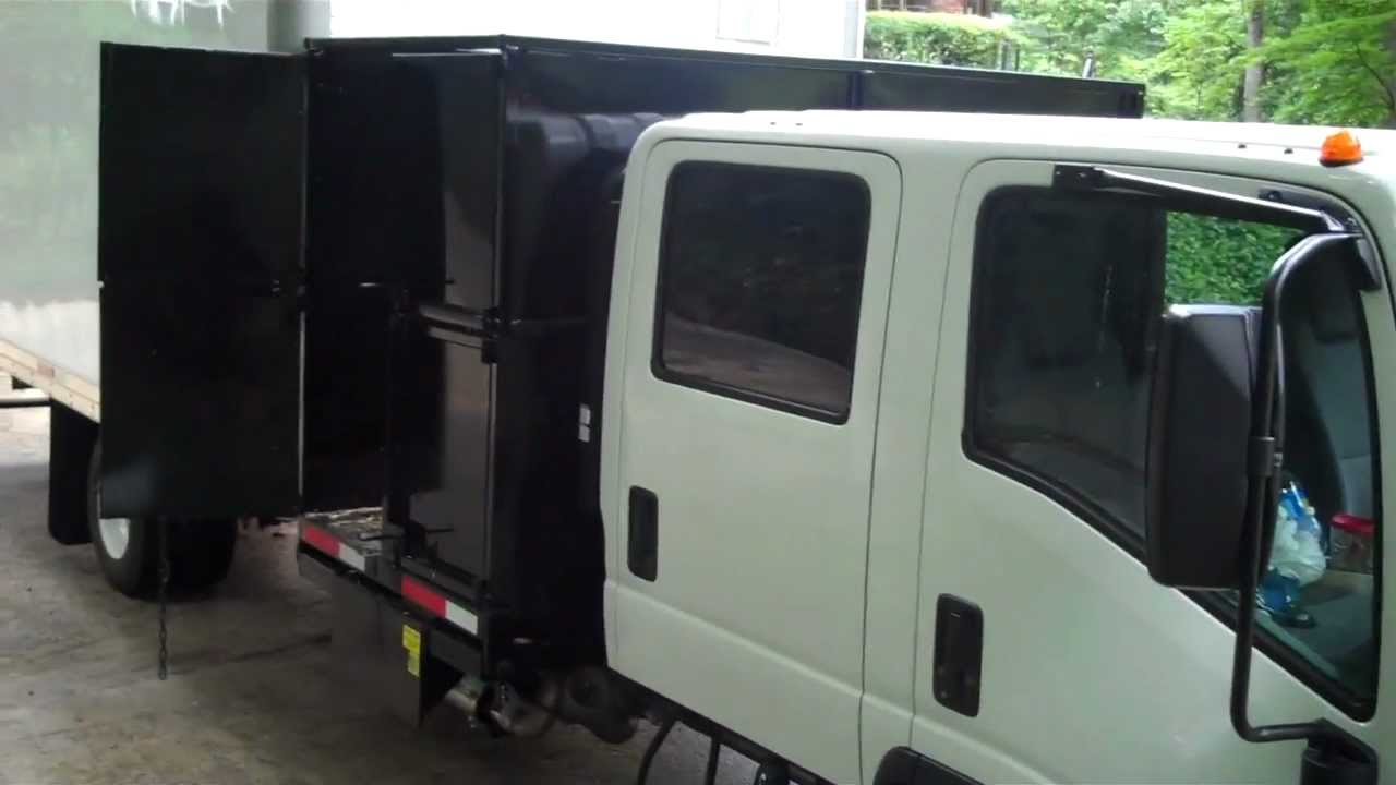 Isuzu lawn care crew cab debri dump van box with fold up for Garden maintenance van
