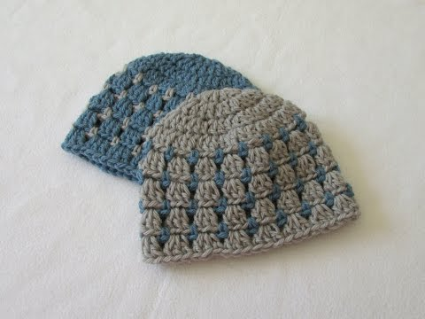 How to crochet a block stitch baby hat / beanie