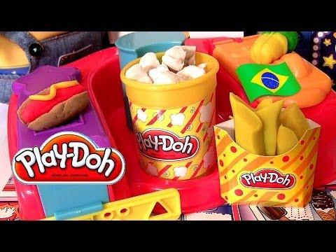 Play-Doh Comidinhas de Cinema Em Casa Playset Brinquedos Hasbro Play Dough Poppin Movie Snacks