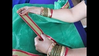 HOW TO PUT LACE OR TRIM ON A NET SAREE AND GIVE IT