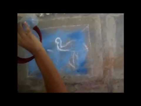 Birds rangoli by using water & sky shading