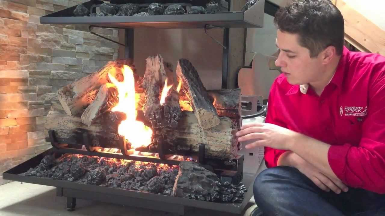 Napoleon Reversible Gas Log Set Fireplace Burn Video Product Review Automatic Starter Youtube
