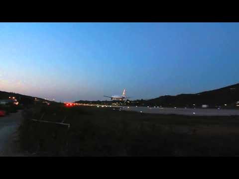 Aegean Airbus A320 Night Landing at Skiathos