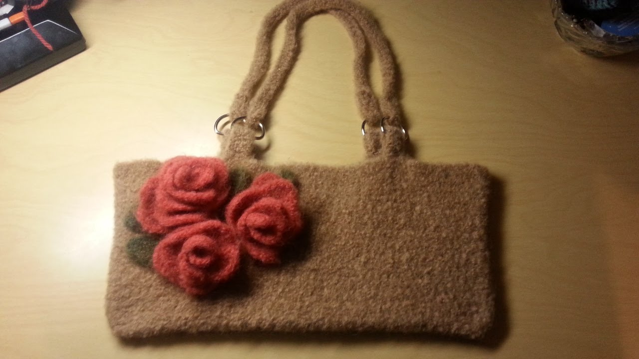 Crochet Bag Youtube : Crochet Bag -Felted Crochet handbag Crochet purse TUTORIAL - YouTube