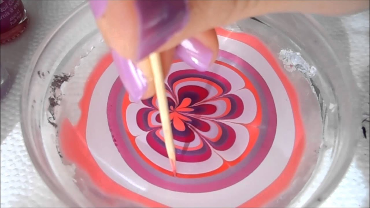 3 Very easy water marble nail art step by step tutorial ...