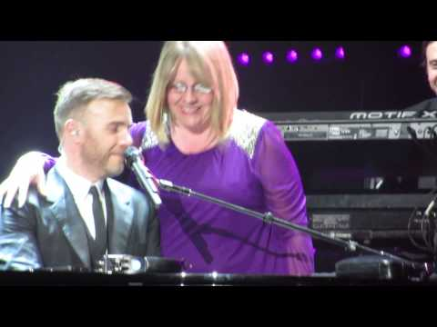 Gary Barlow on stage with 'Michelle' Nottingham 17 April 2014