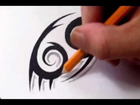 Cancer Tattoos - How To Draw a Simple Tribal Star Sign