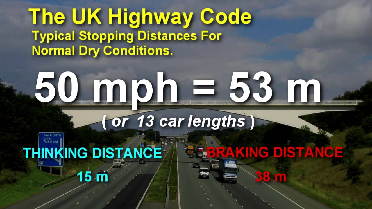 Stopping Distances Theory Test >> UK Highway Code Stopping Distances - YouTube