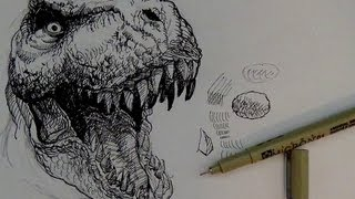 Pen And Ink Drawing Tutorials How To Draw A T-rex