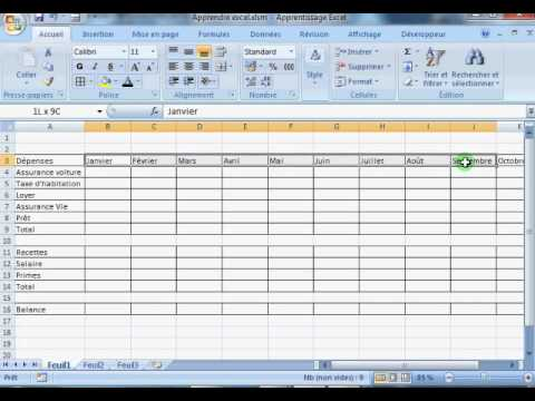 Débutant : Excel apprentissage Vidéo 2 Budget 1.2 - YouTube