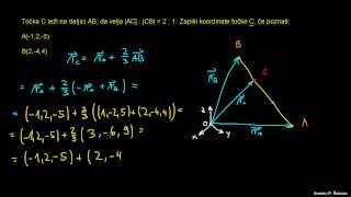 Določanje koordinate točke z vektorji 1