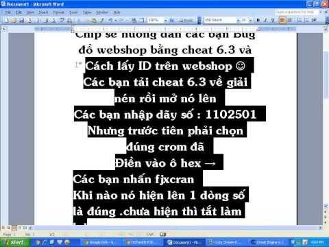 Hướng dẫn bug Cheat 6.3 mua đồ trong webshop và lấy ID iteam trong web shop