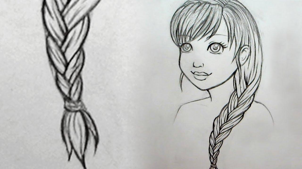 Рисунок карандашом девочки с косичками