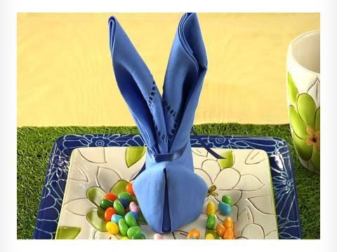 Easy napkin design bunny napkin fold youtube - Fold bunny shaped napkin ...