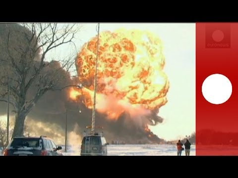 USA train inferno: Video of massive explosion as oil train derails in North Dakota