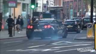ARAB NISSAN GTR - CRAZY DRIFT IN LONDON!! TITANIUM STRAIGHT PIPES!