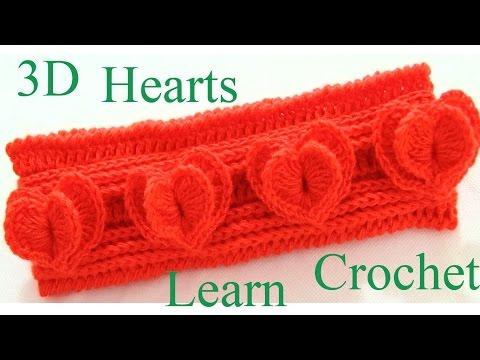 Como hacer corazones 3D a crochet diademas vestidos blusas bufandas chalinas almohadones cojines