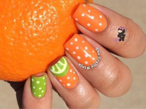 Orange Lime Nail Tutorial