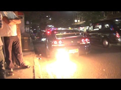 MASSIVE FLAMES from R33 Nissan GTR IN THE STREETS!