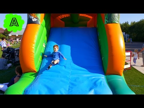 Kids Play on Giant Bouncy Castle Five little babies jumping on the bed Song Nursery Rhymes
