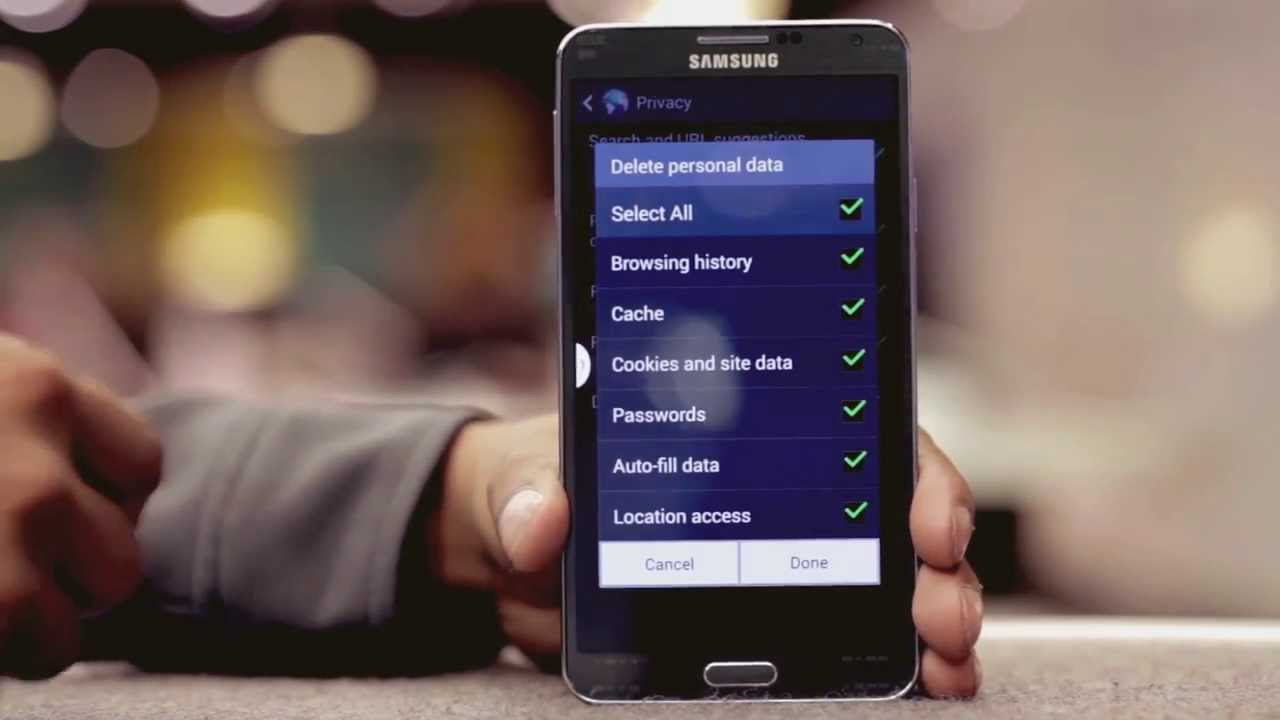 how to erase google search history on samsung
