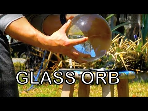 GIANT MARBLE HARVESTS ENERGY FROM SUN HUGE CRYSTAL BALL spherical glass solar energy generator