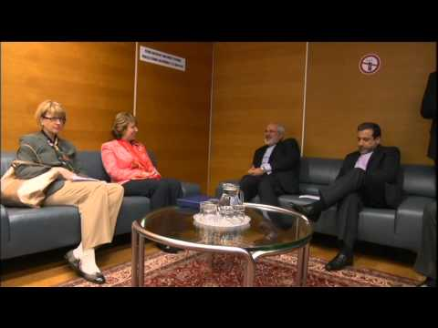 Catherine Ashton at the E3+3 negotiations with Iran: Meeting with the FM Zarif