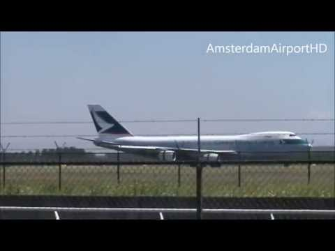 Cathey Pacific Cargo Boeing 747-467F landing at Amsterdam Airport