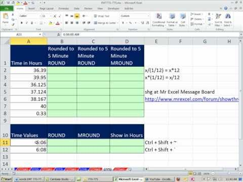 Excel Magic Trick 775: Round to 5 Minutes for Integer Values or Time Values ROUND & MROUND